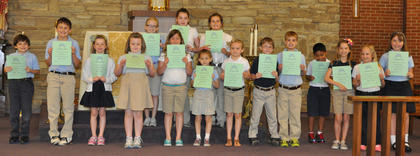 A Honor Roll All Year. St. Edward students awarded with the A Honor Roll for the year were, front row, from left, Nicholas Barry, Ian Boland, Meredith Fryman, Grace Scrudder, Avery Barnes, Kaitlin Barry, Olivia Barry, Jacob Hargett, A.J. Perraut, Rylee Spence, Sydney Furnish, Rachel Rion, Seaanna Skinner; back row, Morgan Cooper, Lucy Barry, Maria Furnish.