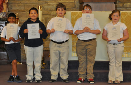 School Honors All Year. Receiving School Honors for the year were: from left, Mynor Spence, Samuel Finch, Eli Hargett, Riley Switzer, Payton Walker.