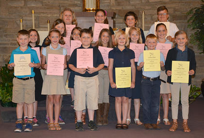 Honor Roll. Students recognized were: front row, from left, Miles Navarre, Sutton Koch, Jack Perrin, Mae Heimlich, Colton Jones, Naomi Farrar-Laws; second row, Kate Gasser, Sarra Skinner, Addison Perraut, Madison Jones, Resa Heimlich, Millie Hatfield; third row, Abigail Rion, Skylar Hatfield, Isaac Furnish, Jack Perrin.