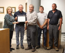 "<div class=""source""></div><div class=""image-desc"">Cynthiana City Commission Lourena Judy recognized staff at the Cynthiana Water Treatment Plant for having no violations for the last three years. Pictured with Judy are, from left, Greg Harrington, Todd Blanton, Gene Fuller and James Knight.</div><div class=""buy-pic""><a href=""/photo_select/46880"">Buy this photo</a></div>"