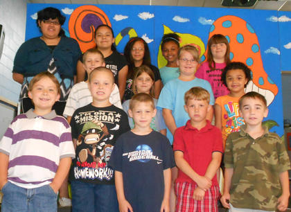 Perfect Attendance. Front row, from left, Christopher Stump, Cameron Perry, Ayden Green, Daniel McNees, Asher Harrington; second row, Adam Wellman, Hope Stiltner, Brooklyn Fryman, Nevaeh Davis; back row, Jasmine Gasser, Jessica Torres, Jaydy Torres, Sierra Black, Katie Tumey.