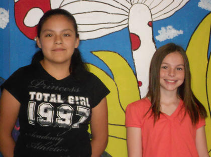 DAR Essay and Grandparent Essay Winners. Jessica Torres, left, DAR Essay winner and Sierra Eckler - Grandparent Essay winner.