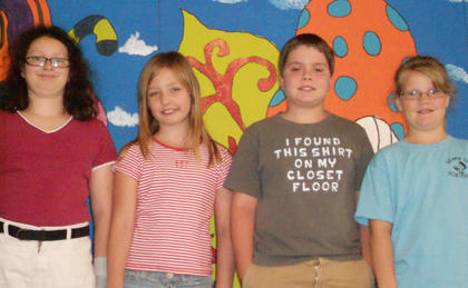 Kids College. From left, CJ Maryea, Athena Collins, James Dennis, Brooklyn Fryman.