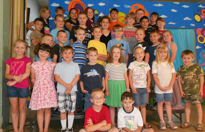 Math Awards. Seated in front, from left, Dustin Sowder, Dylan Joy; first row, Cindy Barker, Lydia Phillips, Eli Getter, Ayden Green, Jae Kathryn Grose, Rilee Wright, Hailey Estes, Hunter Grimm; second row, Wyatt Gaunce, Tanner Eckler, Josh Myers, Jerred Roberts, James Sumner, Cameron Perry, Lucas Herrington, Laci Davis; third row, Blake Robinson, Brooklyn Fryman, Jonah Case, Mia McDaniel, Christopher Griffith, Isaiah Stiltner, Keith Kinney; fourth row, Evey Barker, Will Furnish, Jessica Torres, Jima Hill, Andrew Harney, Jason Gant, Tyler Brock.