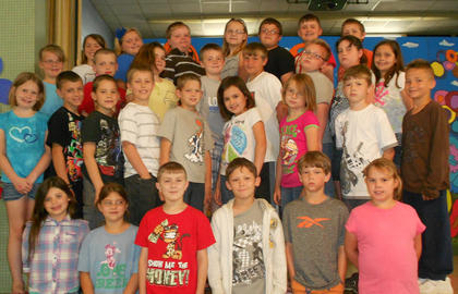 3rd Grade A/B Honor Roll. Front row, from left, Autumn McLemore, Hope Stiltner, Justin Gaunce, JoJo Pike, 