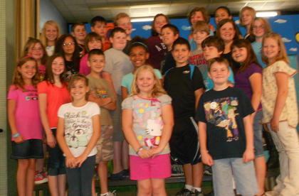 4th and 5th Grade A/B Honor Roll. Front row, from left, Miranda Clem, Bailey Holbert, Justin Earley; second row, Miranda Barnes, Sierra Eckler, Blake Robinson, Sierra Black, Isaiah Stiltner, Garrett Traylor, Bailey Lawrence, Cathy Griffieth; third row,  Isabella Sturgill, Jaydy Torres, Katie Tumey, Peyton Schooley, Dustin Thompson, Christopher Griffith, Sarah Northcutt, Miracle Switzer; back row, Madison Shanklin, Logan Misinec, Andrew Harney, Brady White, Jima Hill, Sydni Gifford, Jessica Torres, Evey Barker. Absent was Riley Mullins.