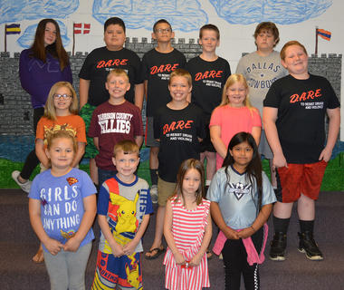 Perfect Attendance. Front row, from left, Ayva Oney, Colton Fryman, Annalise Wagner, Jacqueline Perez; second row, Alexis Franklin, Dalton Carson, Preston Franklin (6 years), Haley Carson, Larry Whitson; back row, Morgan Bihl, Alex Torres, Blake Green, LeLand Rowell, and Frankie Grubbs.
