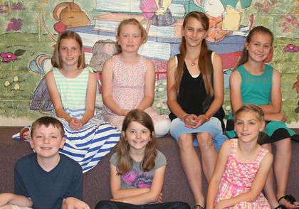 3rd Grade All A Honor Roll. Front row, from left, Nate Mitts, Caylee Browning, Cheyann Smith; second row, Arwen French, Emma Yazell, Aeowynne Wiley, Brinkley Wiggins.