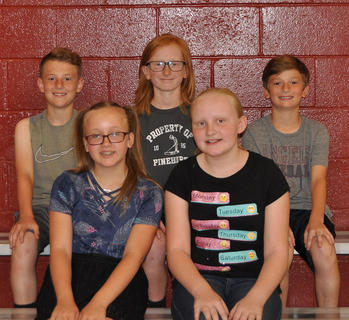 4th Grade Achievement Award. Front row, from left, Hadley Hein, LoVada Faulkner; back row, Jack Midden, Jack Whalen, Cooper Slade.