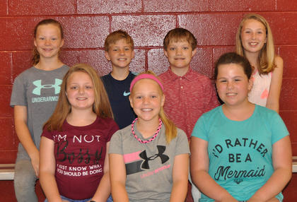5th Grade Achievement Award. Front row, from left, Ashlee Foxworth, Isabella Persinger, Briley Winkle; back row, Hayden Lundsford, Trey Bramel, Alex Love, Alyssa Hall.