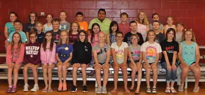 5th Grade Honor Roll (*denotes All A's). Front row, from left, Meredith Vaughn, Morgan Morris, Sidney Cummins, Izabella Logan, Kylee Brinker, *Isabella Persinger, Haylie Sparks, Cheyenne Bullock, Audrey Dawson, Nevaiah Hively, Owyn McCoy; middle row, Rece Grubb, Trey Bramel, Peyton Wagoner, *Ashlee Foxworth, Cadence Buckler, Camille Marshall, Adrian Smith, Lucas Lunsford, Wesley Nichols; back row, Briley Winkle, Jayden Roach, Addison Roe, Hayden Lundsford, Cruz Hernandez, Thomas Cobarruvias, Alex Love, Alyssa Hall, Kira Persinger, Samantha Scott-Mattox. Absent from photo were Noah Ford, Garrett Price, Keene Price.