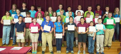 Harrison County Middle School 6th grade students receiving Honor Roll awards were: top row, from left, Christen Smith, Thomas Thompson, Chris O'Neal, Robie Mullins, Madison Kellione, Dylan Etienne, Clay Furnish, Melony Dunaway, Sean Cochran, Kaylee, Clements, Nigel Amick, Evey Barker; center row, Katie Tumey, Autumn Wells, Eli Mattox, Kenzie Jones, Jordan Jenkins, Emma Gooden, Devin Miracle, Cody Howard, Anthony Vascotto, Andrew Day, Braxton Bramel, Sheldon Baxter; front row, Lee Perkins, Halee Tapp, Colton Sosbe, Gracie Roberts, T.J. Rowland, Jessica Torres, Nathan Maynard, Preston Roark. Absent from photo were Lauren Bentley and Gracie Richardson.