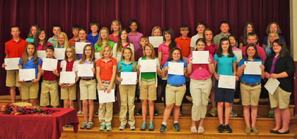 6th Grade Maroon Honor Roll. Front row, from left, Jordan McDaniel, Haley Creech, Electra Mastin, Taylor Ecklar, Shelbi Morris, Lara Beth Ledford, Morgan Sumpter, Kacey Pike, KoreyBeth Whitehead, Madelyn Peeveler, Olivia Partin, Allison Nichols; middle row, Alex Midden, Anna Blake McDaniel, Haley Fauste, Malorey Marshall, Emmalee Lutes, Karlee Migneault, Russ Judy, Olivia King, Dakota Jones, Elizabeth Barnes, Wyatt Banks, Melicity Fraley; back row, Anna Dahmer, Samuel Crump, Caleb Covington, Cameron Cooper, Jaden Chaudion, Lakota Carpenter, Cameron Brown, Luke Bradford, Austin Haynes, Noel Howard, Lauren Ammerman.