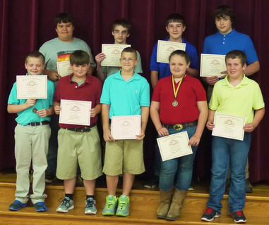 HCMS students recognized for Perfect Attendance were: top row, from left, Steven Oaks, Layton Childress, Tyler Watts, Isaac Sims; front row, Preston Roark, Eli Mattox, Cody Howard, Chelsea Kiskaden, Jacob King.