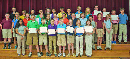 6th Grade Gold Team Honor Roll. Front row, from left, Johanna Torres, Alex Howard, Dillon Gasser, Bryce Henderson, Josh Moore, Charlie Moore, Sydney Perraut, Summer Franklin; middle row, Max Ferguson, Kelby Gaunce, Whitley Lemons, Annie Furnish, Alyssa Kilpela, Bailee Thornsbury, Madison Coppage, Shelby Mullen, Rachel Swinford, Tanner Hodge, Hannah Creech, Mersadeez Dietrich; back row, Spencer Lemmings, Devin Mattox, Ryan Tobin, Cameron Blankenship, Kelsey Thornsbury, Emily Northcutt, Ben VanHook, Addison Gasser, Sydnie Lyons, Christy Adams, Larissa Plats, Morgan Barker, Owen Stephens, Adam Bradford.
