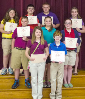 Students receiving Perfect Attendance awards were: top row, from left, Kayla Neace, Sam Bostic, Bryan Boyd, Katie Stonich; middle row, Justin Adams, Kayla Whalen, Emma McGee; bottom row, Bailey Gasser, Noah Daily. Absent was Kelsea Northcutt.