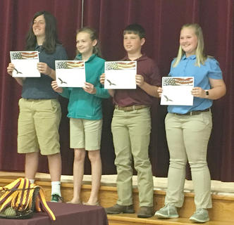 Citizenship. Students receiving awards were: from left, Bodie Muth, Olivia Barry, Lincoln Darrell, Jenna Gaunce.