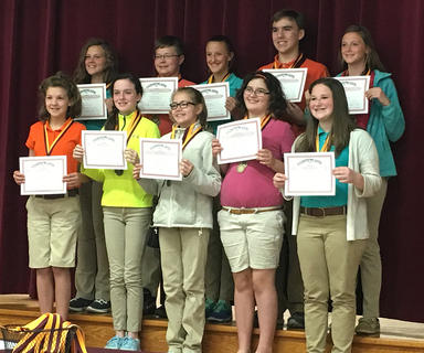 Reading Counts. Students recognized were: front row, from left, Isabella Baker, Alaina Coppage, Bethany Franklin, Taylor Fryman, Addison Hoskins; top row, Gracie Davis, Cameron Perry, Caroline VanHook, Walker Wilson, Lily Winkle.