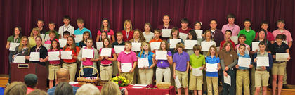 7th Grade Maroon Honor Roll. Front row, from left, Amy Johnson, Shelby Jackson, Savannah Hedges, Alexis Lanza, Kennah Noble, Sara Ann Ledford, Carolina Elliot, Makayla Cloyd, Isaah Brueggen, Jacob Brueggen, Taylor Barnes, Cody Adams, Quentin Sowder, Ruthie Sparkman; middle row, Stephanie Harney, Havannah Gollihue, Matthew Fugate, James Fryman, Natalie Kenney, Chesney Florence, Draven Floerence, Draven Florence, Kendra Courtney, Ben Bradford, Allison Conley, Mary Bethea, Chandlyr Puckett, Matthew Turner, Austin Snapp, Alex Tumey, Ann Whitaker; back row, Tyler Jackson, Austin Jackson, Austin Harless, Wes Fowler, Larah Kendell, Sarah Doyle, Emma Darnell, J W Brurrier, Brittany Barker, Joseph Banfield, Reese Asher, Brett Persinger, Luke Slusher, Eli Switzer.