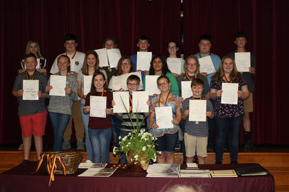 7th Grade Medal Winners. Top row, from left, A. Webber, J. Smith, B. Johnson, L. Moses, R. Whellman, C. McIllvain; middle row, C. Vaughn, M. Debbie, S. Hatfield, S. Sumpter, C. Furnish; bottom row, T. Stroub, M. Florence, J. Fugate.