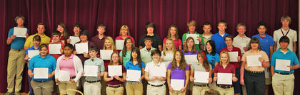 8th Gold Honor Roll. Front row, from left, Hannah Winkle, Brenna Wells, Brennan Riddell, Rachel Newman, Claire Morgan-Sanders, Cassidy Menard, Meghan Clem, Jessica Mattox, Victoria Switzer; second row, Amberlyn Schjoll, Jacob Sanders, Trevor Ritichie, Callie May, Anna Marsh, Dalton Covert, Tatum Bell, Hallie Adams, Nicole Hughes, Chris Mashburn, Ashley Simpson, Jacob Smith; third row, Timmy Lail, Abigail Sparks, Shelby May, Conner Hutchison, Addison Doyle, Jami Davis, Zane Couch, Brittany Bennett, Jared Thomas, Lucas Foster, Josh Getting, Josh Graves, Chris Ortiz, Zach Pulliam.