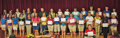 8th Maroon 3 Year Honor Roll. Front row, from left, Casey Wallace, Autumn Stanfield, Shelby Traylor, Amber Schools, Kimberly Sandlin, Olivia Moore, Kaylea Lemons, Payton Hollar,  Gus Garrison, Gracie Furnish, Hallie Clough, Erin Cheek, Foster Burden, Austin Lynn, Amelia Bolin, Madison Gibson, Rachel Jackson; second row, Tarah Martin, Paityn Wiglesworth, Amy Whalen, Millie Wiglesworth, Madison Philpot, Sydney Motell, Nathan McCall, Mary Levi, Kimberly Lambert, Travis Fry, Zach Day, Brian Davis, Colin Coy, Preston Brizindine, Brock Jenkins, Jesse Khlapheke.