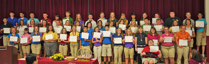 8th Grade Maroon Honor Roll. Front row, from left, Gracie Furnish, Chloe Depew, Bethany McElfresh, Ally Pierson, Amelia Bolin, David Ramirez, Autumn Stanfield, Gus Garrison, Kimberly Sandlin, Rachel Jackson, Madison, Gibson, Austin Lynn, Payton Hollar, Hallie Clough, Kecia Stephens; second row, Michael Highland, Lynnzie Craddock, Jamie Buckler, Olivia Moore, Foster Burden, Chelsea Bowman, Rachel Fuller, Casey Wallace, Shelby Traylor, Amber Schools, Addi Ogden, Kaylea Lemons, Devin Hubbard, Brandon Denkins, Paityn Wiglesworth, Millie Wiglesworth; third row, Brock Jenkins, Brian Davis, Zach Day, Preston Brinzendine, Michael Mastin, Colin Coy, Tarah Martin, Taylor Bourassa, Amy Whalen, Madison Philpot, Nicole True, Jesse Khlapheke, Mary Levi, Shelby May, Nathan McCall, Sydney Motell, Travis Fry.
