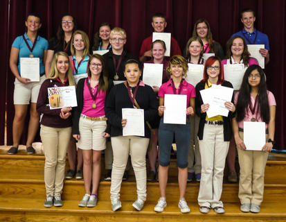 Special Recognition: Top Students recognized for Attitude, Progress, Cooperation, and Service to the school: front row, from left, Sydney Perraut, Morgan Sumpter, Natalie Crump, Sabrina Goins, Samantha Campbell, Johanna Torres; second row, Cameron Cooper, Westin Russell, Kristin Feeback, Samantha Wood, Annie Furnish; back row, Sydnie Lyons, Jackie Uhles, Madison Coppage, Max Ferguson, Kendyl Beckett, Alex Midden.