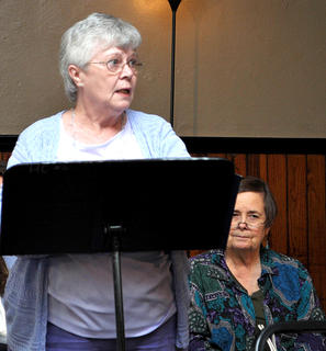 Marilyn Bell, above, was one of the participants in the Poetry Slam, held in conjunction with the Art Walk on Saturday.