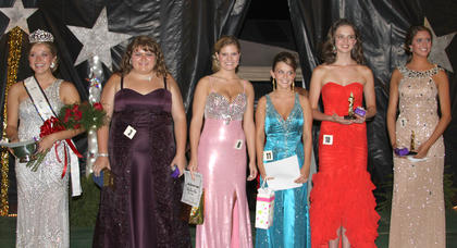 Winners in the Miss Harrison County pageant were: From left, Michelle Carson-2012 Miss Harrison County, Susan Brooke Darnell-Miss Congeniality, Allison Wade-best dress, Leah Carpenter-best smile, Erin Bradford-second runner-up, and Katelynn Paige Perraut-first runner-up.