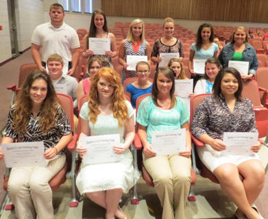 Harrison Area Technology awards were presented to Jessica Alas-Entrepreneurship, Caitlin Foster-Accounting I Business Law, Kaitlyn Swinford-Accounting I, Shelby Lesak-Advanced Computer Applications, Haley Morris-Medical Office Systems Medical Office Terminology, Danny White-Outstanding Performance in Building Trades, Nathan Gregory-Blueprint Reading/Technical Math, Brady Prows-CAD/CAM/CNC, Justin Noble-Fundamentals of Machining A, Caleb Philpot-Cooperative Education I, Jenna Nunnelley-Medicaid Nurse Aide, Ashley Lakes-Health Practicum, Katie Vickers-Anatomy and Physiology, Alisha Bledsoe-Medical Terminology, Kaitlyn Swinford-Emergency Procedures, Whitney Gross-Introduction to Health Sciences, Alyssa Campbell-Web Site Design and Development, Devyn Prater-Introduction to ARCGIS, Holly Hounchell-Introduction to Computing, Jacob Adkins-Outstanding Performance in Welding Technology.