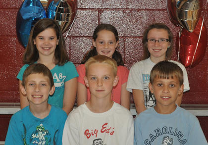 4th Grade Achievement Awards. Front row, from left, Colton Kendall, Casey Sledd, Cameron Kisney; second row, Marleigh Posey, Anna Midden, Addison Moore.