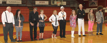 The Harrison County Dance Team sponsored a night of dancing with the stars this past Friday on the Hilltop. Stars included Mayor Steve Moses dancing with Haley Diamond; Police Chief Ray Johnson with partner Lindsey Reynolds; HCHS Assistant Principal Bo Switzer with Josie Valentine; Dr. Bill Faulkner with Taylor Schrieber; and Deputy Robert Peak with Brittany Bennett. The CynCity Line Dancers also performed during the program. Proceeds went to Relay for Life.