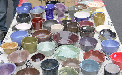 Many different colors and shapes of hand-made pottery were on display Saturday.
