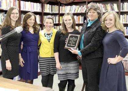 Members of the Project Playground committee were named Citizens of the Year. They are: from left, Cassie Moses, Mandy Gossett-Thornton, Codye McCann, Jennifer Gossett, Pat Grenier, Chamber director, and Rebecca McCauley.