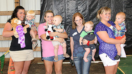 6-12 month boys Joshua Chance King with mother Leigh Ann Lusby, first; Brayden Fullmer with mother Rebecca Fullmer, second; Colton Fryman with mother Amber Fryman, third; Lane Thomas with mother Whitni Snipes, Most Photogenic.