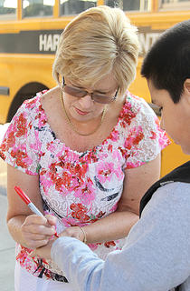 Despite having retired last school year, Northside retiree Pam Cunningham came back for the first day as a volunteer.
