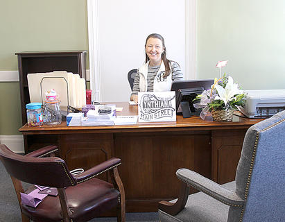 Stephanie Burden, Cynthiana Main Street director, has moved from the former Fifth  Third Bank at Main and Pike, to the second floor of the new City Hall.
