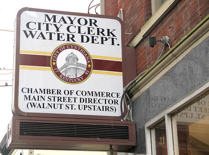 A new sign identifies the location of the new city offices building on the corner of Pike and Walnut Streets.