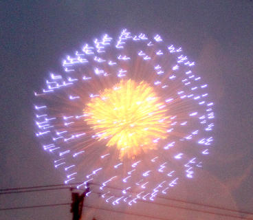 A downpour didn't affect the beauty of the fireworks display on Saturday night.