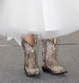 Trendy footwear at one of the fair's pageants.