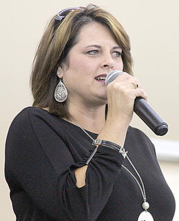Christy Martin Hall, emcee at one of the pageants at the fair.