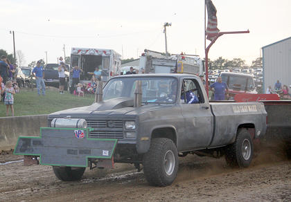 The KTPA sanctioned tractor and truck pulls were a big attraction at the Fair on Thursday night.  The souped up tractors and trucks were both loud and powerful and brought a big crowd to the pulling venue.