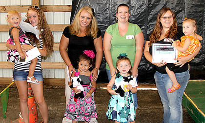 2-3 year girls Destiny Cox with mother Brittany Campbell, first; Aaliyah Wyrick with her aunt Nikki Wyrick, second; Maddyson Shaw with mother Sarah Shaw, third; Kara Lee Eubanks with mother Ashley Perez, Most Photogenic.