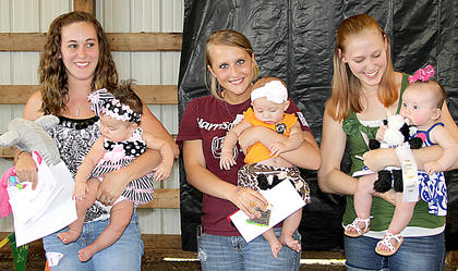 3-6 month girls Adalyn Gaunce with her mother Vonda Kearns, first and Most Photogenic; Jaedynn Gaunce with mother Jessica Wilson, second; Makenna Fuson with mother Lydia Fuson, third.