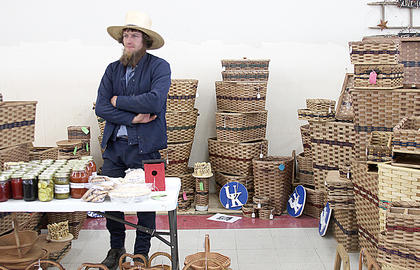 Joe Swartzentruber sold much of his hand-woven basket inventory on the first day of the Home and Garden Show. The show welcomed over 2,000 visitors this year. The event was held Saturday at the former Save-a-Lot building.