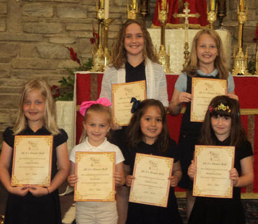 Honor Roll All As. Front row, from left, Avonlea Workman, Ivy Thornton, Brynlea Cockrell, Marymichael Gasser; back row, Camille Hatfield, Resa Heimlich.