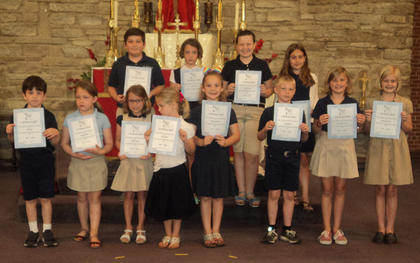 Honor Roll All As and Bs. Front row, from left, John Clay, Audrey Smith, Delaney Koch, Lilly Gribble, Felicity Hatfield, Colton Jones, Naomi Farrar-Laws, Mae Heimlich; back row, Isaac Furnish, Sutton Koch, Sarra Skinner, Addison Perraut.