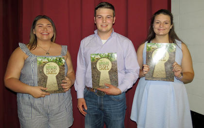 Charles Tribble Conservation Scholarship. From left, Hannah Duncan, Wyatt Banks, KoryBeth Whitehead.
