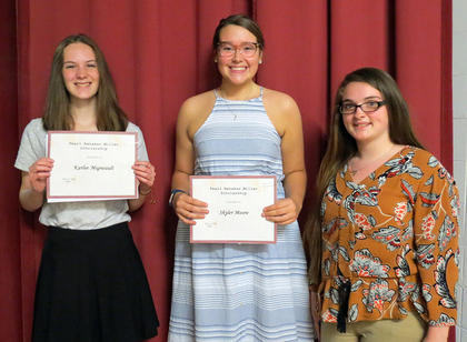 Pearl Renaker Miller Scholarship. From left, Karlee Migneault, Skyler Moore, Sadie Oaks. Absent were Christy Adams, Dalton Switzer.